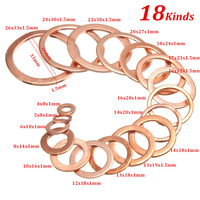 New High Quality 395 Pieces Copper Flat Washer Gasket Seal Parts 18 Metric Electric Car