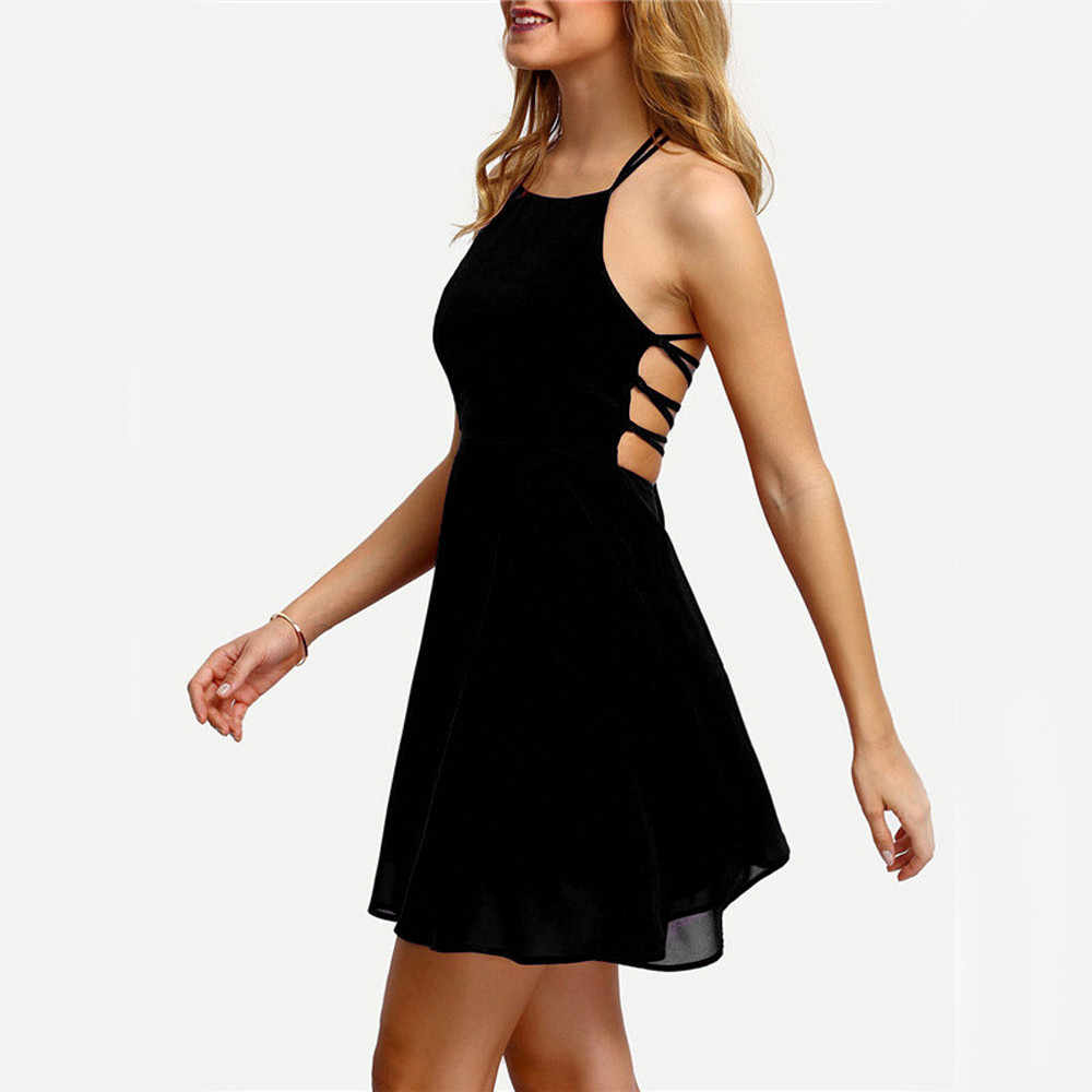 工場直接ドレス女性パーティーカクテル背中包帯ノースリーブのセクシーなドレスミニドレス