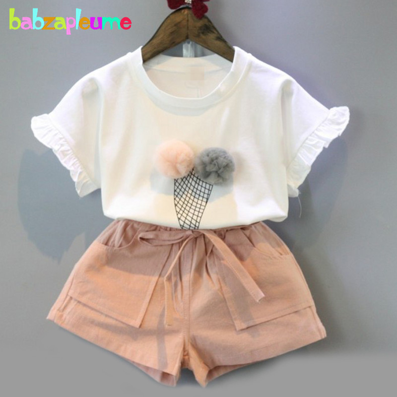 2016 Summer Children Clothing Ice-Cream Kids Clothes Short Sleeve T-shirt+Shorts 2pcs Baby Girls Suit 0-7Years Tracksuits BC1263