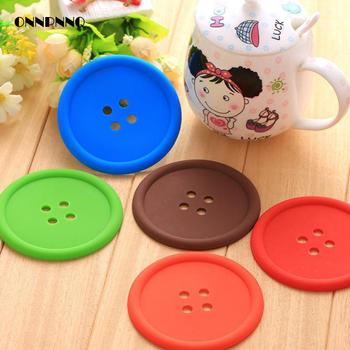 Creative Buttons Coaster Pvc Placemat  Heat Insulation Silicone