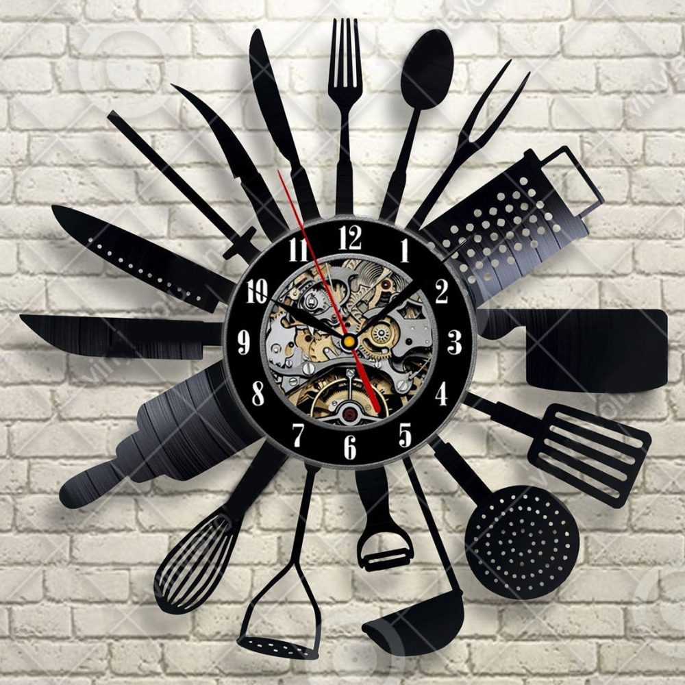 Cutlery Wall Clock Modern Design Spoon Fork Clock Kitchen Watch Vintage Retro Style Vinyl Record Wall Clocks Home Decor Silent
