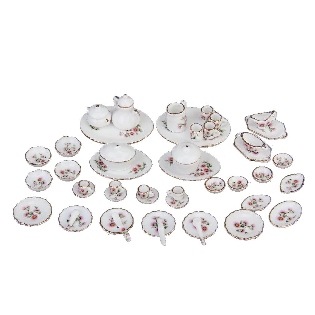 50 Pcs Miniature Dollhouse Dinnerware Porcelain Tea Set Tableware Mug Plate Pink Daisies
