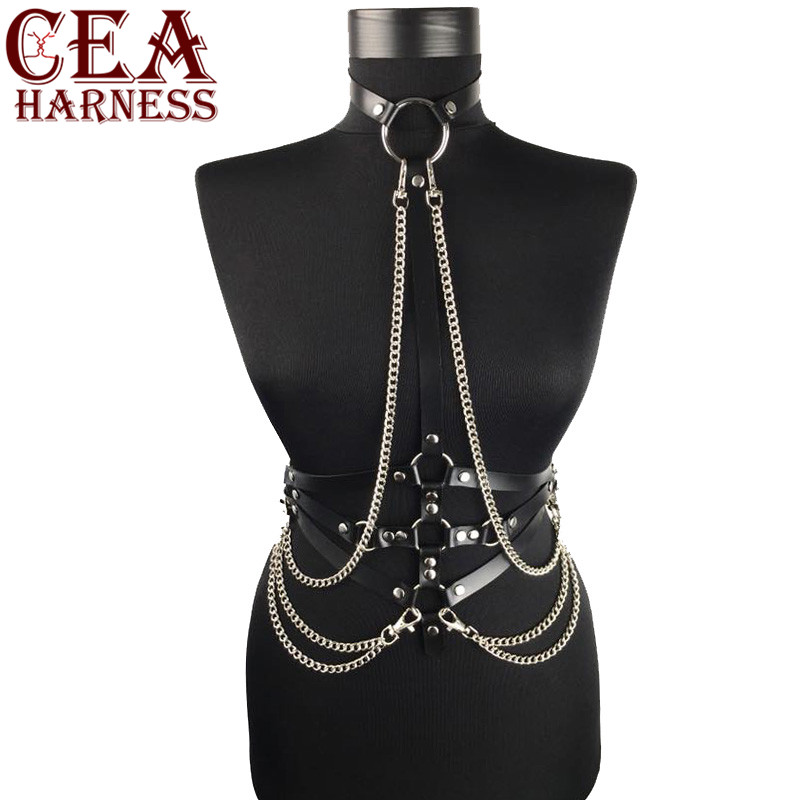 CEA.HARNESS Woman Leather Harness With Chain Punk Style PU Leather Bra Belts Sexy Lingerie Body Bondage Caged Gothic Bra Garters