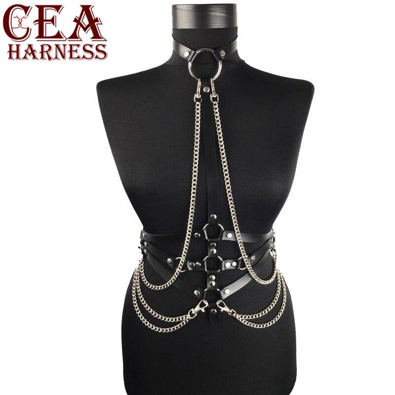Cea. harness mulher arnês de couro com corrente estilo punk couro do plutônio sutiã cintos sexy lingerie corpo bondage enjaulado gótico sutiã ligas