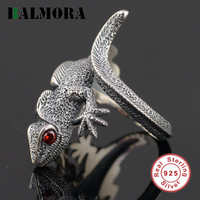 BALMORA Authentic 925 Sterling Silver Vintage Lizard Open Rings for Men Punk Personalized Jewelry Red Eyes Animal Ring SY21897
