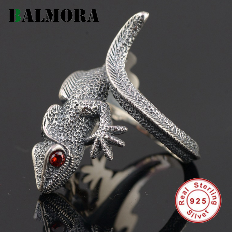 BALMORA Vintage Lizard Ring Authentic 925 Sterling Silver Animal Open Rings for Men Punk Jewelry Red
