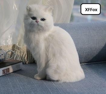 big real life sitting white cat model plastic&furs cute cat doll gift about 26x19x14cm xf1444