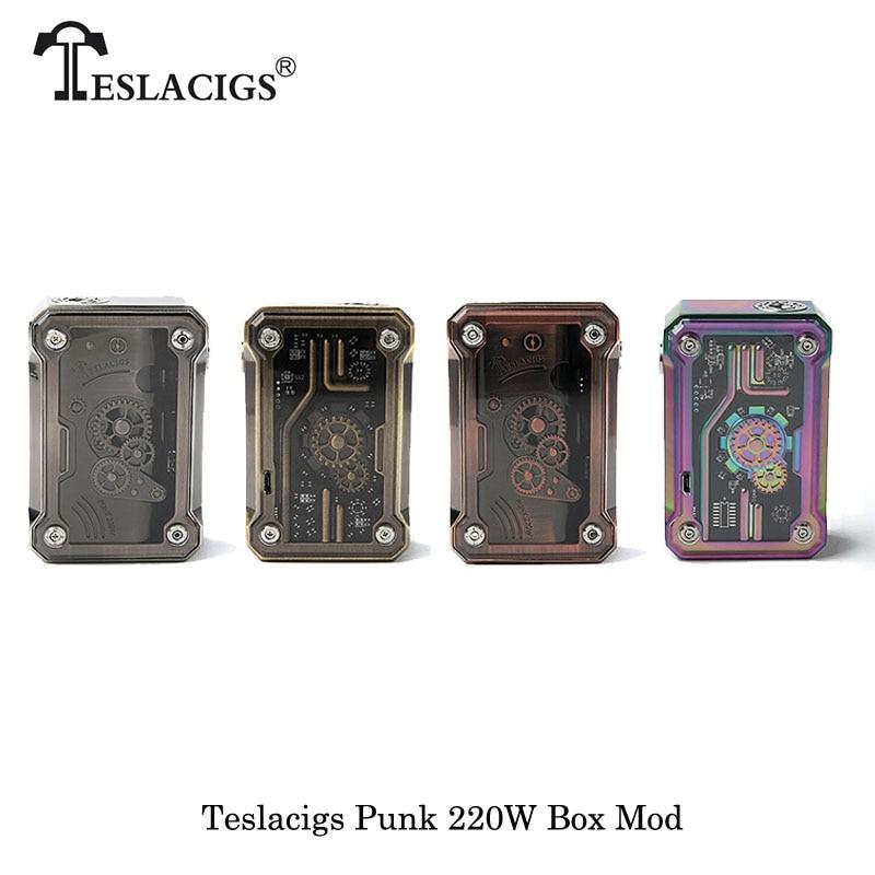 Cigarettes électroniques originales TESLACIGS Tesla Punk 220 W boîte Mod TC TCR VW VV Mode alimenté par double vaporisateur de Vape de batterie 18650