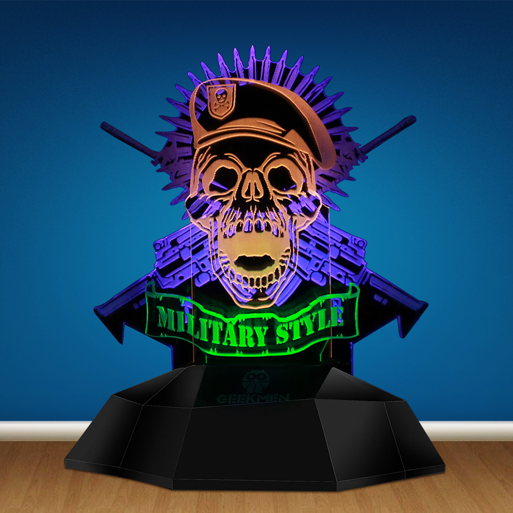Military Style Beret Skull Soldier 3D Line Light Shooting Gun Machines Weapon Skull Bullet Decorative Novelty Table Lamp