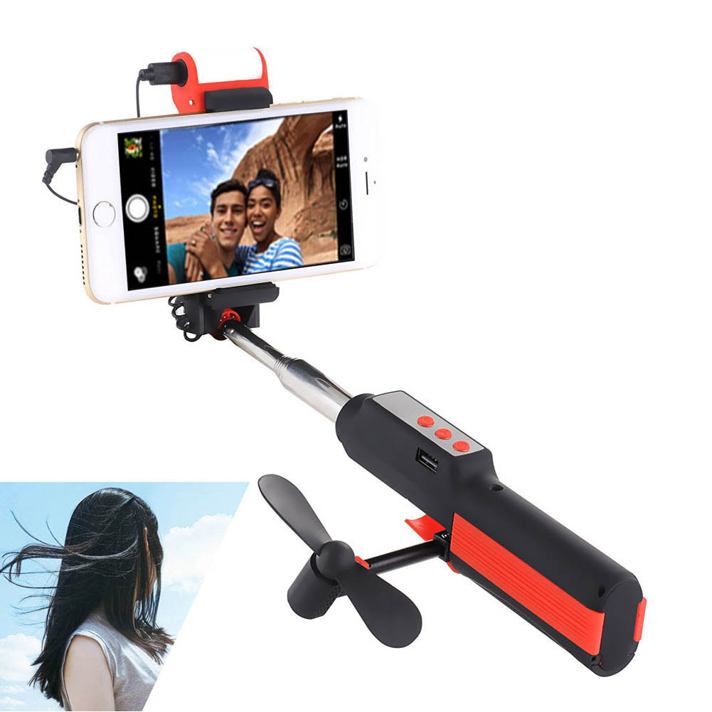 Multifunction Selfie Stick With Build-in Remote LED Light and Small <font><b>Fans</b></font> For iPhone 7 Plus HUAWEI Mate 9 eals @JH