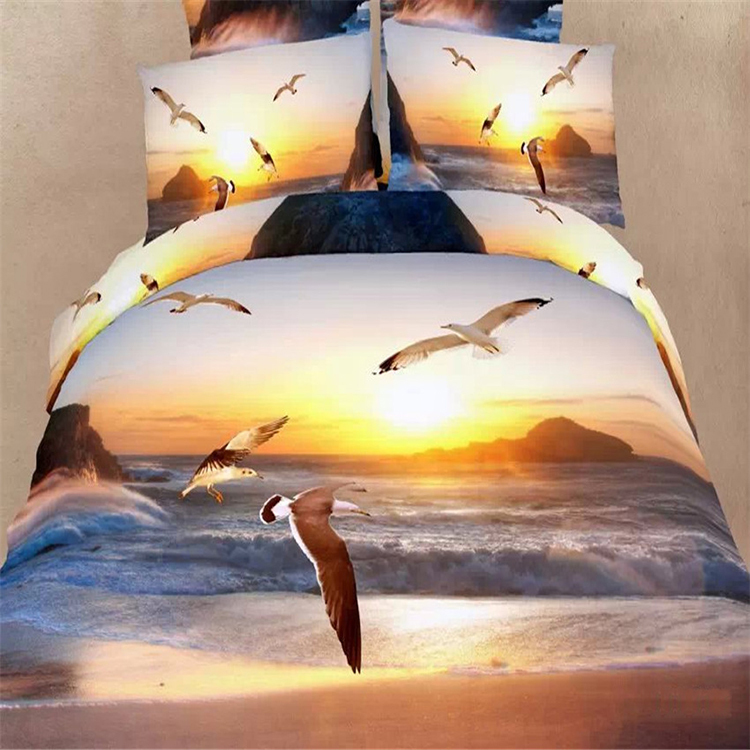 Hermosa gaviota volando sunset ocean lecho de la reina 3d puro algodón textiles