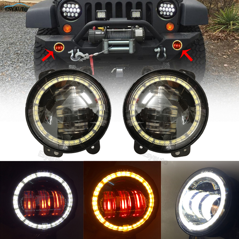 4 inch LED Fog Lights Assembly with White Amber Red Halo Ring Front Bumper Lamps for Jeep Wrangler for Cruiser 4x4 Off Road set j087 black steel 10th anniversary front bumper with fog lights fits 07 17 jeep wrangler