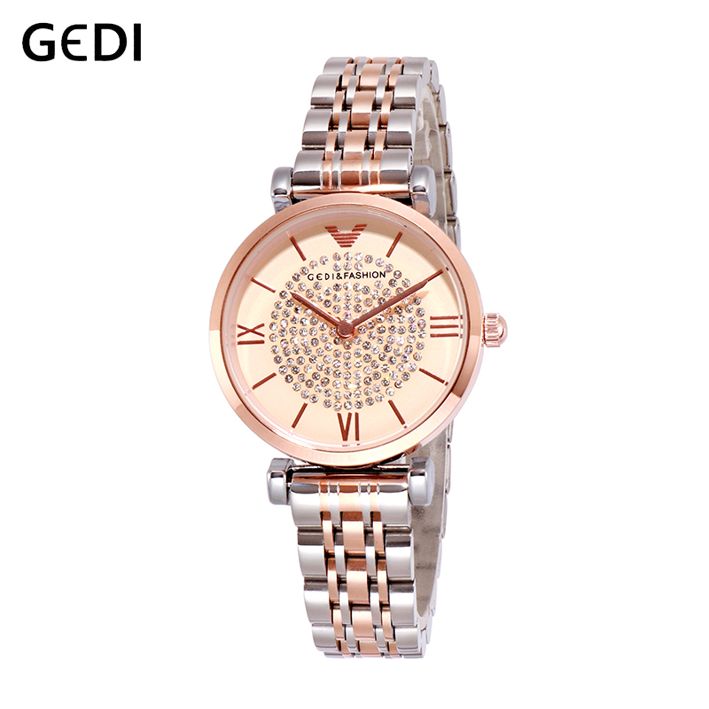 GEDI Women Fashion Watches Creative Lades Casual Watch Top Brand Luxury Stylish Desgin Gold Woman Quartz Watch For Women