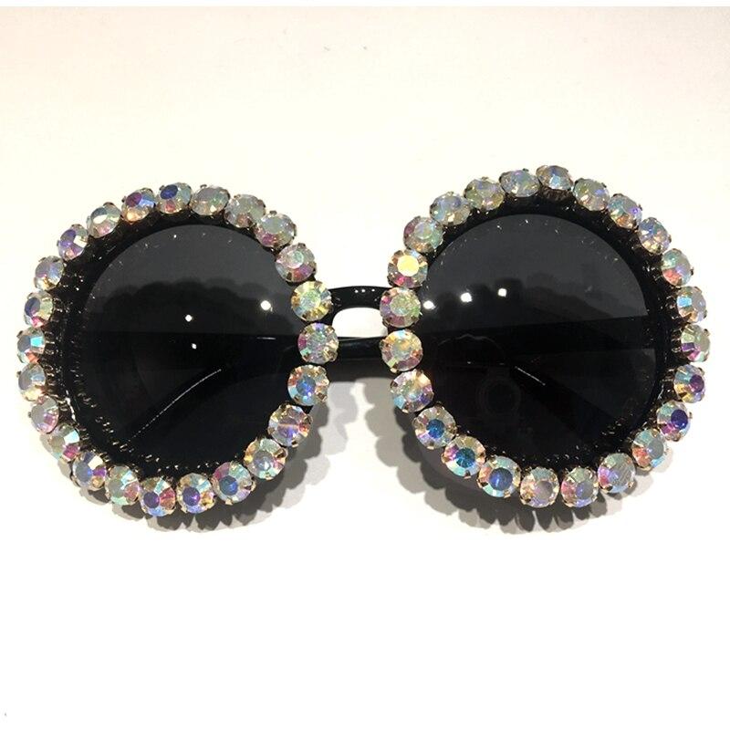HTB1gjrSktfJ8KJjy0Feq6xKEXXaD - Women Sunglasses 2018 Round Vintage AB Rhinestone Sunglasses Luxury Shades Female Funky Sun glasses Oculos De Sol