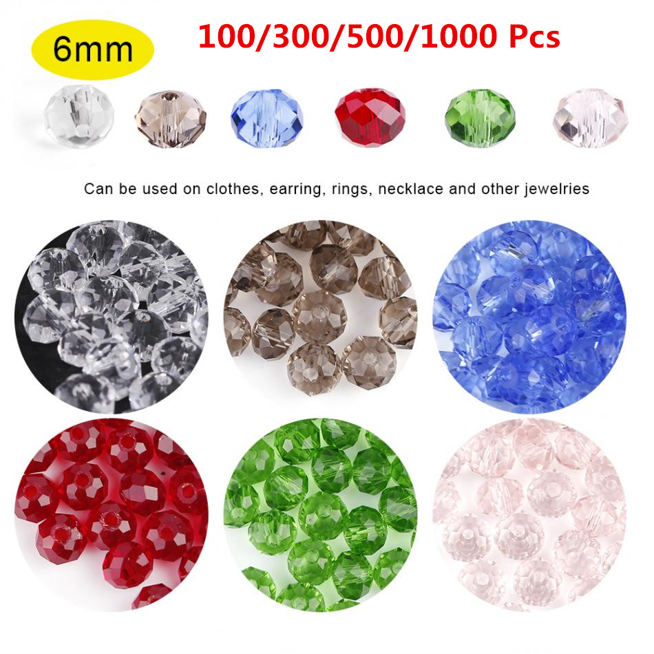 DIY 100/300/500/1000 Pcs 6mm Round Crystal Jewelry Beads For Making Earring Rings Round Spacer Accessary Jewelry Findings Beads