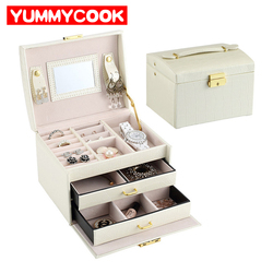 PU Leather Jewelry Box Three Layers Portable Necklace Earrings Rings Display Holder Drawers With Mirror Lock Makeup Storage Box