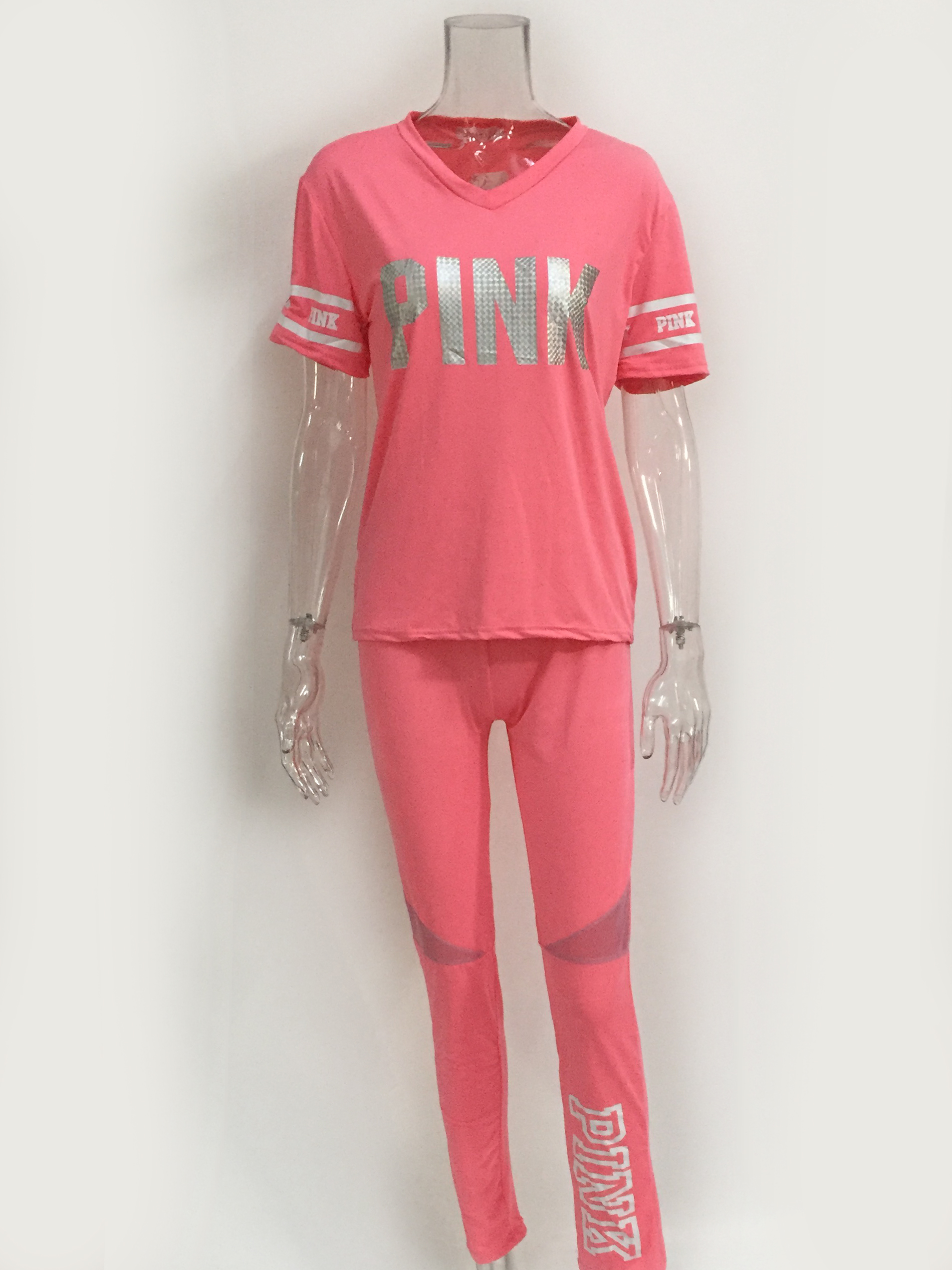 Women's 2 Piece Pink Letter Outfits Tracksuits V Neck Tops And Skinny Pants Jog Set Sweat Suits Conjunto Feminino Casual Sets