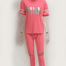 Women's 2 Piece Pink Letter Outfits Tracksuits V Neck Tops and Skinny Pants Jog