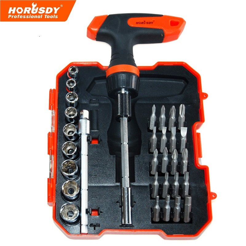 HORUSDY 32 in 1 ratchet sleeve screwdriver bit set Extension of the rod t10,t15,t20,t25.ph0,ph1,ph2,ph3.,pz1,pz2,pz3.h3,h4,h5, цена