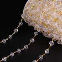 5Meters,8mm Clear Crystal Glass Faceted Round beaded Chain,Golden Tone Wire Wrapped Rosary Chain Charms Bracelet Earrings