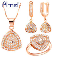 Jewelry Sets 925 Sterling Silver CZ Zircon Fashion Micro Pave Crystal Triangle Jewelry For Women Wedding