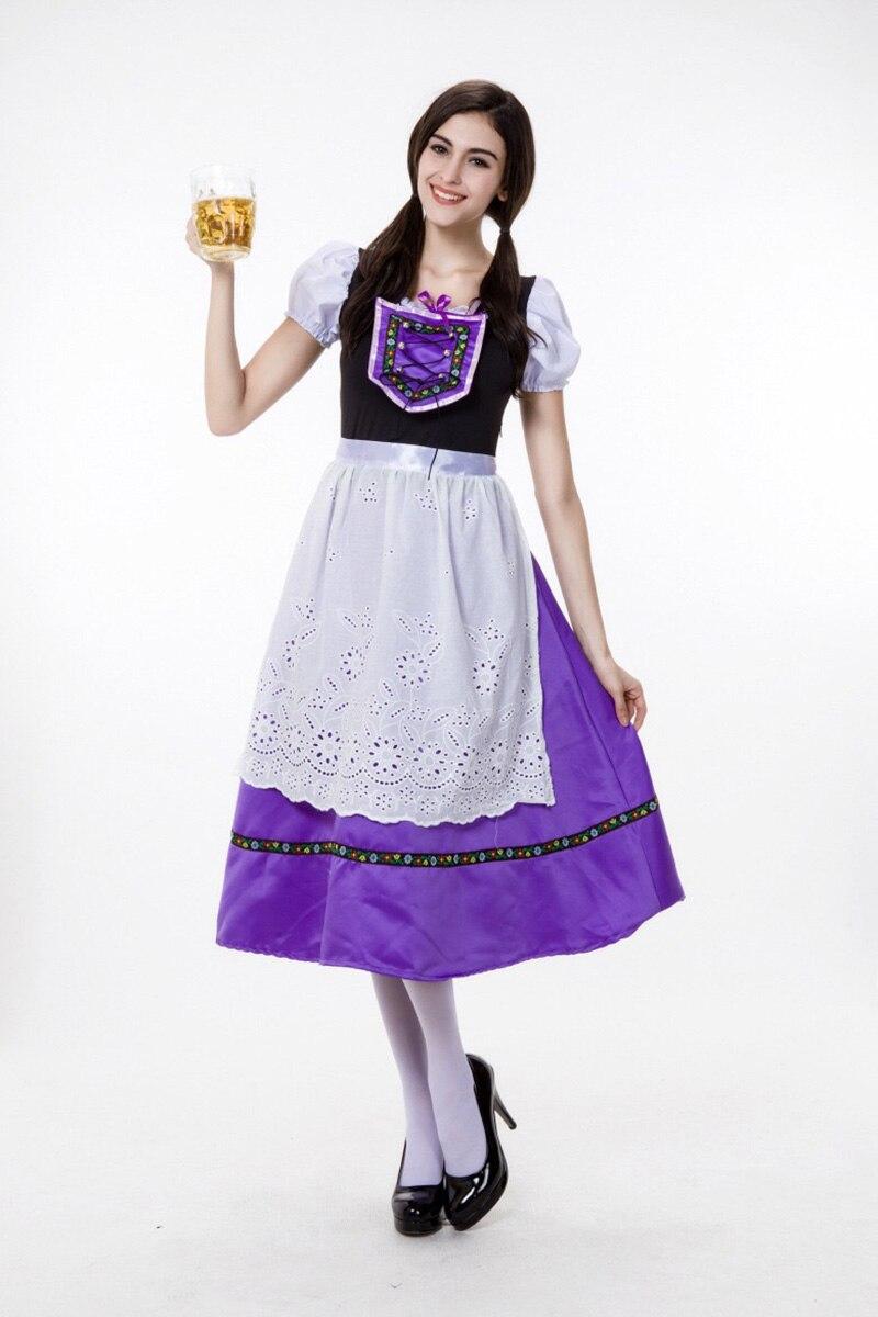 8b55f103b41 US $18.8 10% OFF|Adult Women Bavarian Dirndl Costume Ladies Oktoberfest  Long Purple Satin Dress Festival Cosplay Outfit For Teen Girls Plus Size-in  ...