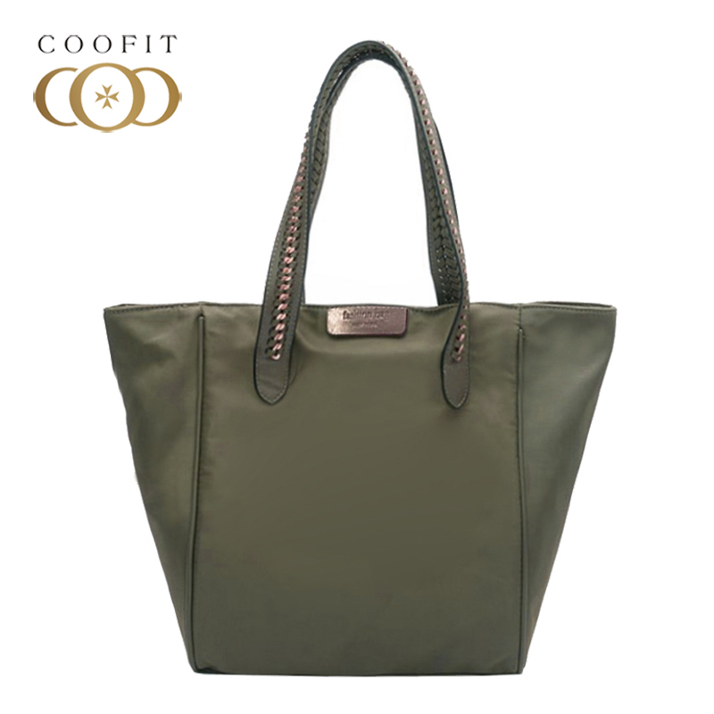 Coofit Women Big Shopper Bag Simple Casual Oxford Cloth Tote Bags Stylish Rivet Strap Designer Shoulder Bag For Dating Shopping