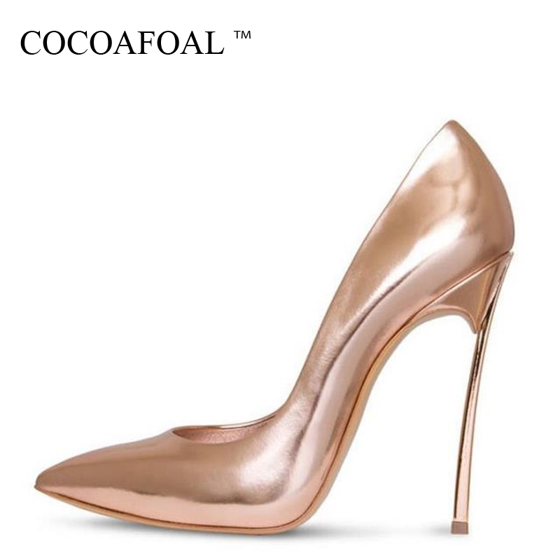 COCOAFOAL Woman Superstar Shoes Top Quality Plus Size 33 - 43 Golden Wedding 12 CM High Heels Shoes Champagne Silvery Sexy Pumps romyed bridals wedding shoes kim kardashian pumps superstar shoes top quality flowers evening christian shoes size 4 16 shofoo