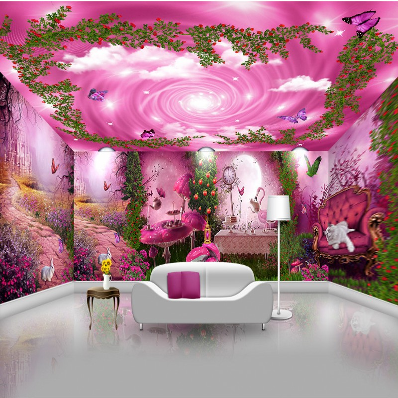 Photo Wallpaper Custom Beautiful Pink Forest Mystery Background Theme Restaurant Bedroom Hotel Mural
