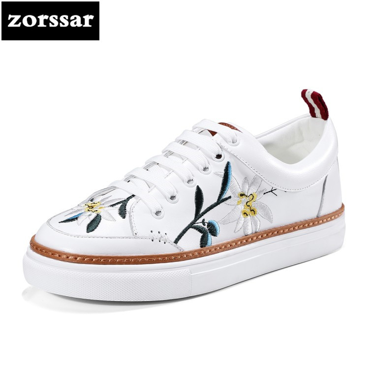 {Zorssar} 2018 Fashion Embroidery Genuine Leather Women shoes flats Casual Shoes Comfortable Flat platform Female sneakers shoes vicamelia 2017 fashion women casual shoes grey appliques women flat shoes comfortable women sneakers female footwear 067