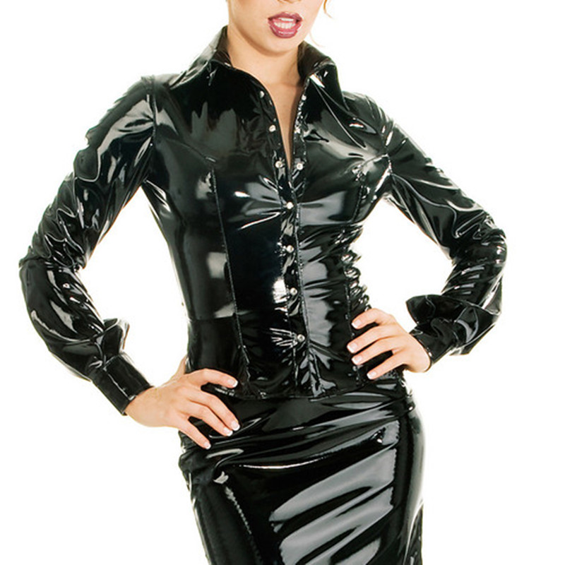 New 100% Rubber Latex Women Black Jacket Long Sleeve Shirt With Button Size XXS-XXL