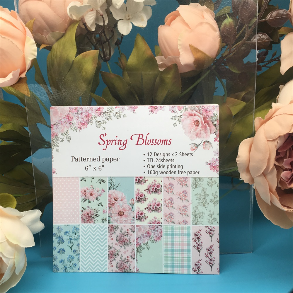 24pcs/Pack 6*6inch Spring Blossoms Patterned Paper Pack Scrapbooking DIY Planner Card Making Journal Project Letter Pad