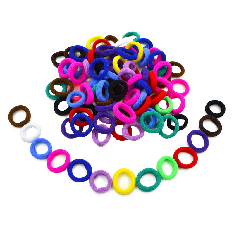100 PCS Child Kids Ponytail Holders Black White Colorful High Elastic Hair Bands For Girls Rubber Band Tie Gum Hair Accessories