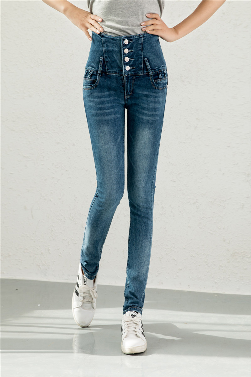 New Fashion Jeans Women Pencil Pants High Waist Jeans Sexy Slim Elastic Skinny Pants Trousers Fit