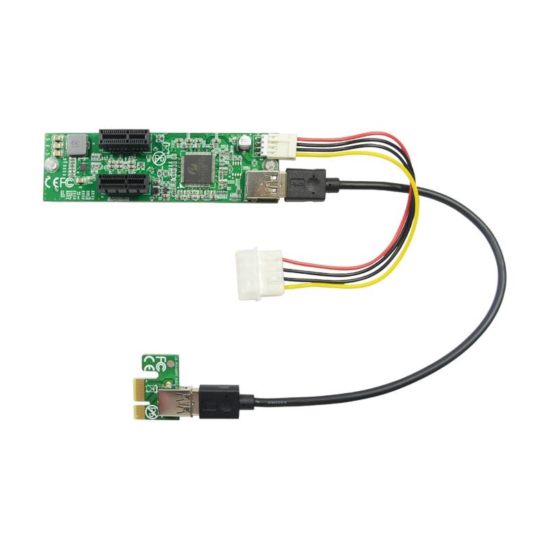 Nouvelle carte d'extension PCI-E 1 à 2 pci-express x1 Slot carte d'extension USB 3.0 câble d'extension IDE Big 4pin à petite alimentation 4pin