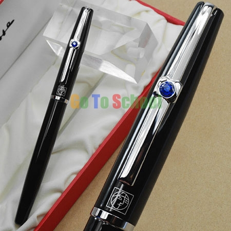 PICASSO 925 BLACK FOUNTAIN PEN F HOODED NIB CRYSTAL WITH ORIGINAL BOX FREE SHIPPING