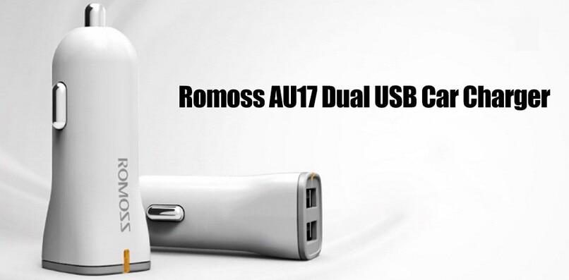 Romoss AU17 Dual USB מהיר טעינת מטען לרכב לאייפון סמסונג LG HTC Explay שולחן מחשבים איכותי