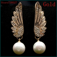 2015 Fashion Jewelry Gold Silver Plated Crystal Angel Wings Double Pearl Stud Earrings For Women Free