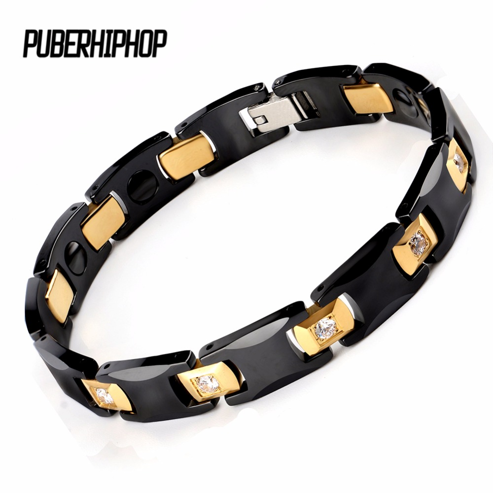 все цены на New Bio Energy Ceramic Bracelet Bangle Health Magnetic Power Titanium Bracelets CZ Health Chain Charms For Women/Men Jewelry