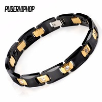 New Bio Energy Ceramic Bracelet Bangle Health Magnetic Power Titanium Bracelets CZ Health Chain Charms For