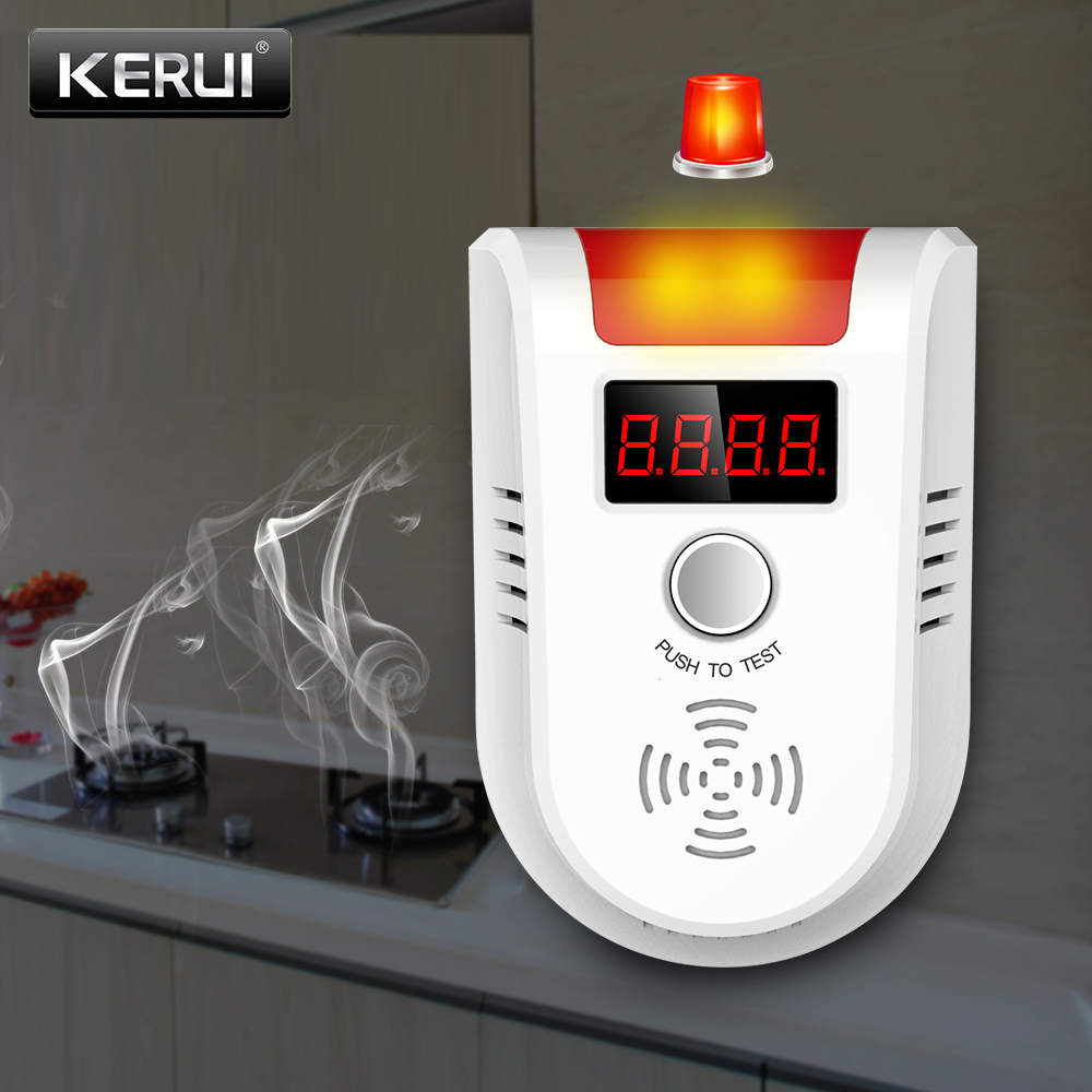 KERUI GD13 LPG GAS Detector Wireless Digital LED Display Combustible Gas Detector For Home Alarm System golden security lpg detector wireless digital led display combustible gas detector for home alarm system