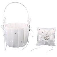 NEW White Satin Cristallo del Cuore di Amore Wedding Flower Girl Basket, Ring Bearer Pillow 4