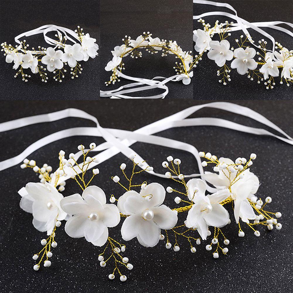 Radient New Pure Manual Snow Yarn Pearl Flower Crystal Rhinestone Bride Headwear Wedding Dress Hair Pins Hair Band Accessories
