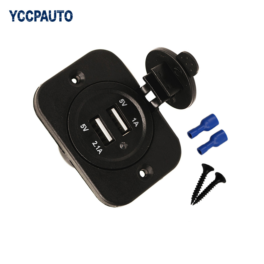 Car Cigarette Lighter Adapter Dual <font><b>USB</b></font> Motorcycle Truck Mobile phone <font><b>USB</b></font> <font><b>Charger</b></font> Socket Plug Car High Quality Waterproof <font><b>12V</b></font> image