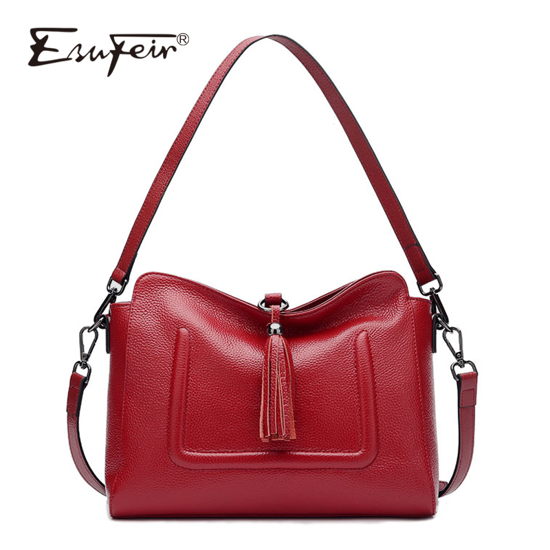 ESUFEIR Brand Genuine Leather Messenger Bag for Women Fashion Tassel Shoulder Bag Soft Cow Leather Satchels Women Crossbody Bag