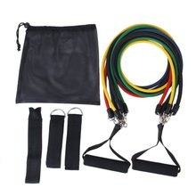Super sell Set 11 pcs Fitness Exercise Latex Tube Resistance Bands