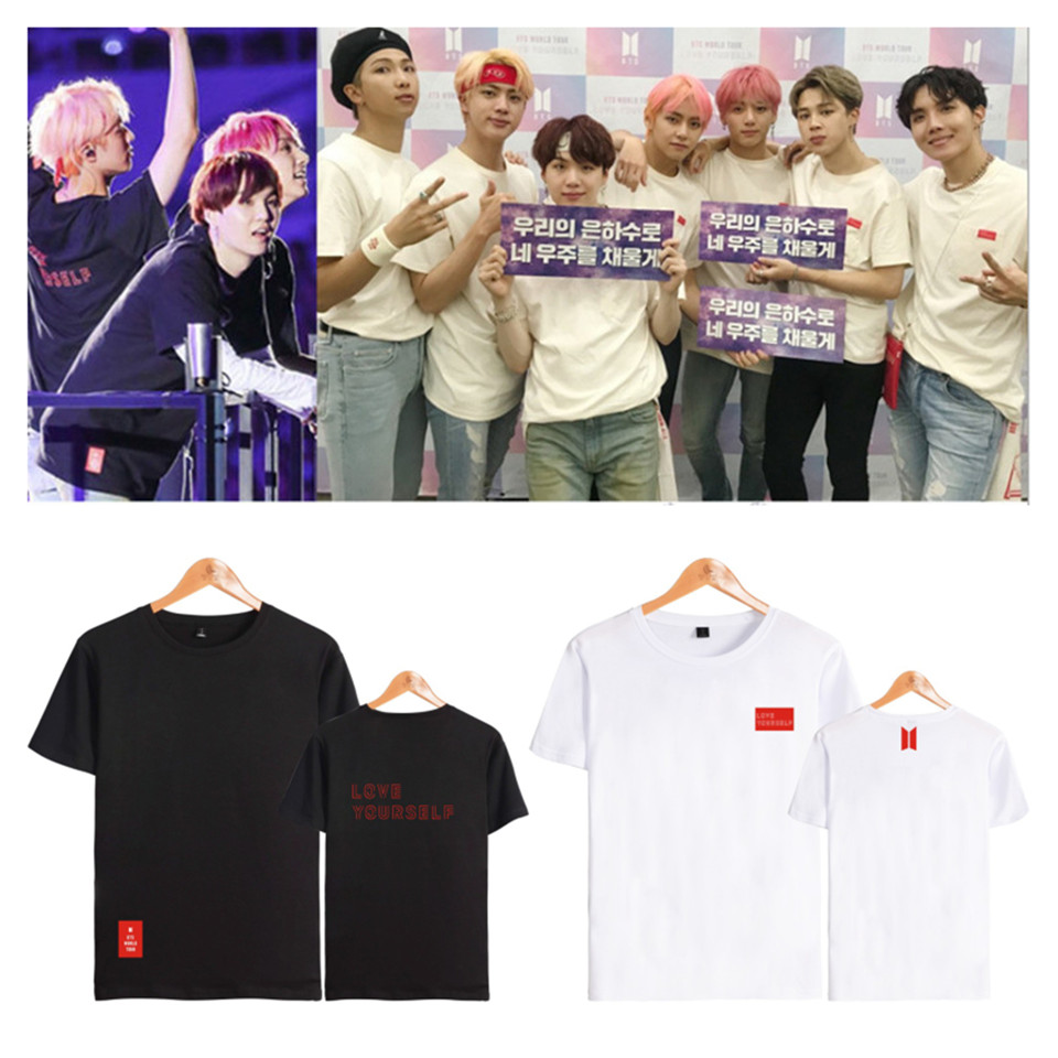 BTS Love Yourself World Tour T Shirts Bangtan Boys V Summer T Shirt Female Harajuku Girl T Shirt K-pop Bts Short Sleeve Tees