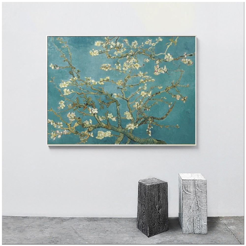 Framed Canvas Print Vintage Poster Flowers Blue Floral Home Decor Wall Art