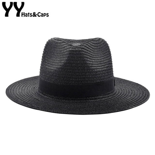 6aab8cd36e2c76 Black Panama Hats For Men Straw Sun Hats Women Beach CAPS Couple Sun Visor  Hats Wide Brim Summer Fedora Jazz Cap Chapeu YY18027
