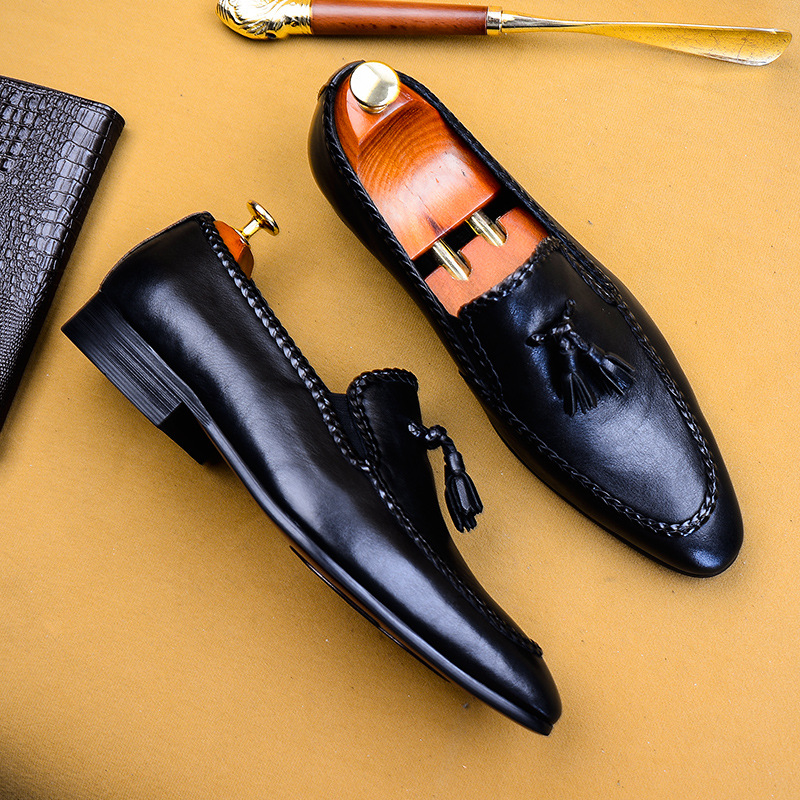 QYFCIOUFU Men Fashion Pointed Toe Business Tassel Shoes Casual Breathable Genuine Leather Flat Dress Shoes Wedding Shoes US 11 5 in Formal Shoes from Shoes